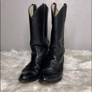 Frye 9D Black Leather Cowboy Boots